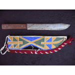 painted raw hide knife case with antique knife