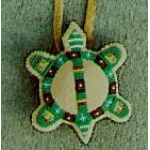 "Round Partly Beaded ""Turtle\"" Amulet Medium"